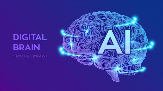 Digital brain. artificial intelligence virtual emulation science technology.