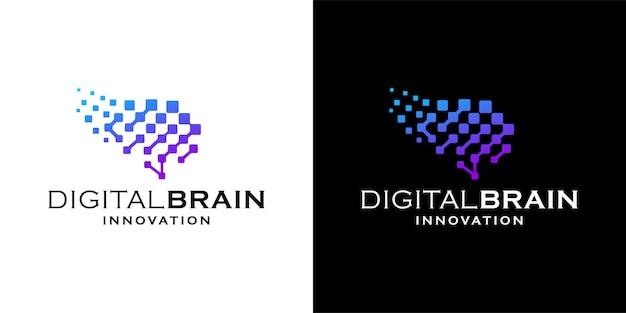 디지털 뇌 로고 디자인