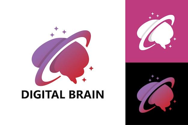 Digital brain logo template premium vector