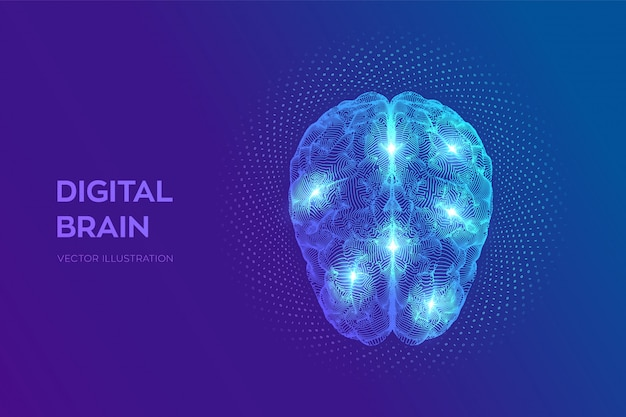 Digital brain with binary code. 3d science and technology concept