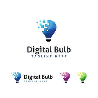 Digital bulub logo template
