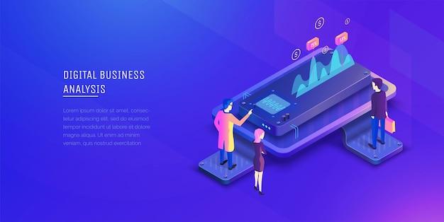 デジタルビジネス分析投資の分析ビジネスマンは成長チャートを分析しますパフォーマンス指標現代のベクトルイラストアイソメトリックスタイル