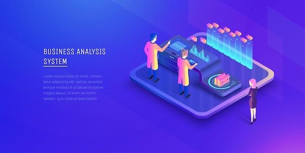 デジタル ビジネス分析 投資の分析 ビジネスウーマンがビジネス分析のプロセスを見ている Premiumベクター