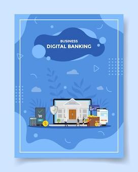 テンプレートの画面表示でラップトップ銀行のオフィスの周りのデジタルビジネスバンキングの概念の人々