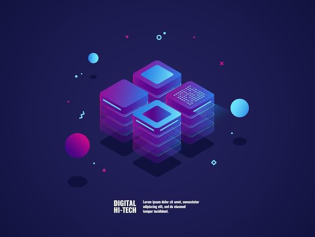 디지털 비즈니스 개념, 서버 룸, 데이터 센터 및 데이터베이스 아이콘, 기술 개체