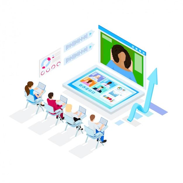 デジタルビジネス会議。アイソメ図スタイルのイラスト。