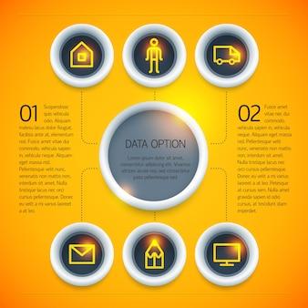 分離された明るいオレンジ色の背景に円テキストアイコンオプションとデジタルビジネスインフォグラフィックテンプレート