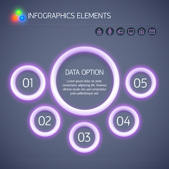 Digital business infographic template with purple neon glowing circles five options text and icons isolated