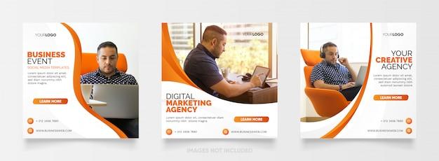 Digital business marketing agency instagram post template Premium Vector