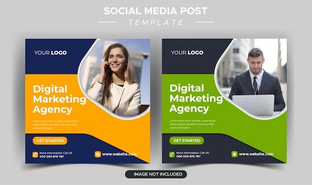 Шаблон сообщения instagram для цифрового бизнес-маркетингового агентства Premium векторы