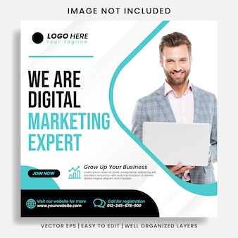 Digital business marketing agency instagram post & web banner