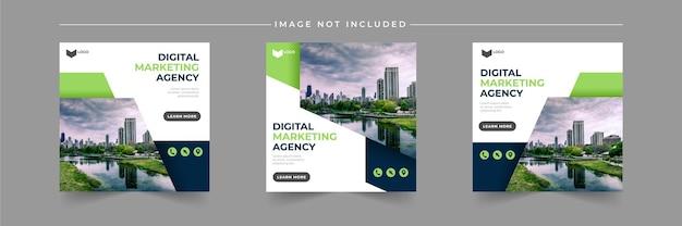 디지털 비즈니스 마케팅 대행사 소셜 미디어 게시물 템플릿 세트