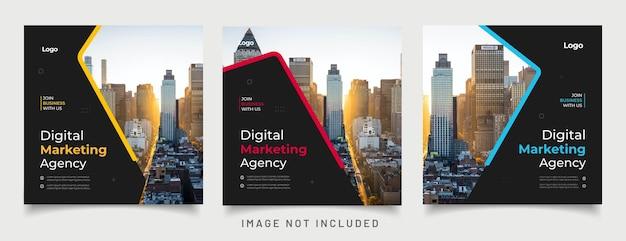 ソーシャルメディア投稿テンプレートのデジタルビジネスマーケティングバナー