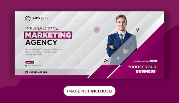 デジタルビジネスマーケティングfacebookカバーテンプレートデザイン