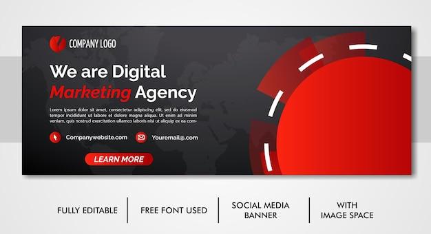 デジタルビジネスマーケティングプロモーションfacebookとソーシャルメディアカバーテンプレート