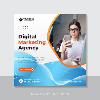 デジタルビジネスマーケティングソーシャルメディアバナーまたは正方形のチラシ