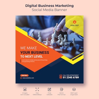 Digital business marketing social media banner or square flyer template design