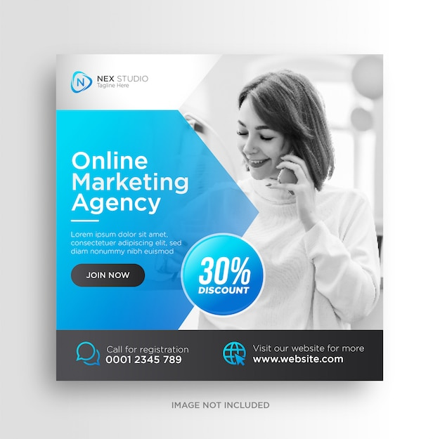 Digital business marketing social media banner square flyer template