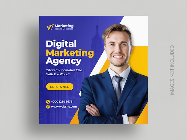 Digital business marketing social media post banner square flyer template