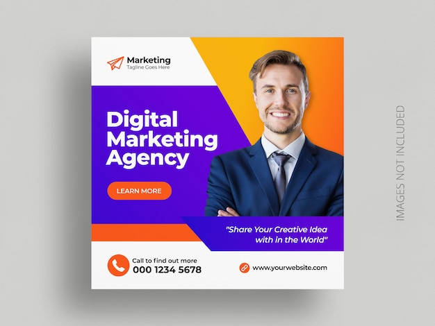 Digital business marketing social media post banner square flyer template