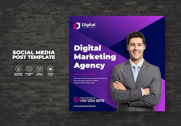 Digital business marketing social media post template grow your business