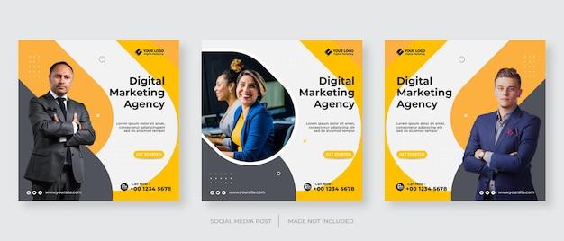 デジタル ビジネス マーケティング ソーシャル メディア投稿テンプレート