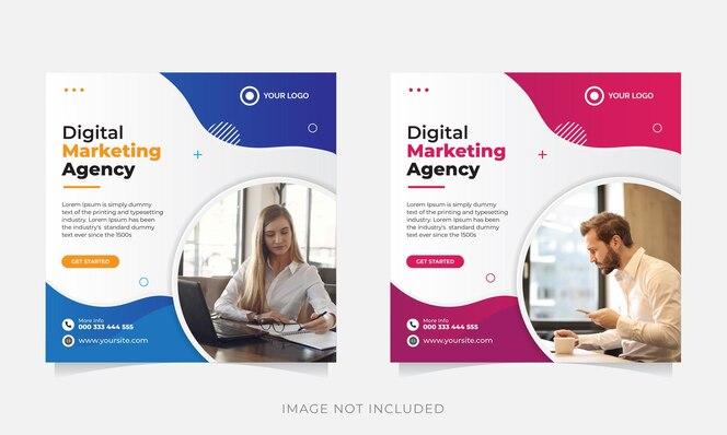 шаблон сообщения в социальных сетях цифровой бизнес-маркетинг