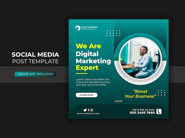 デジタルビジネスマーケティングソーシャルメディアの投稿とウェブバナー