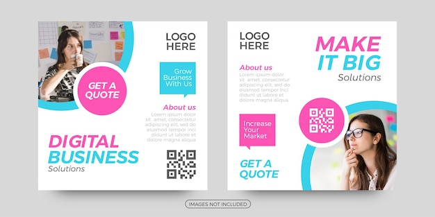 Digital business social media post templates