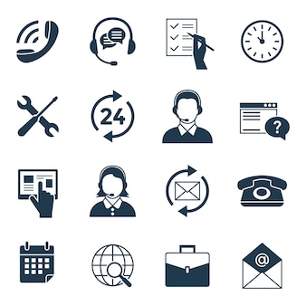 Digital call center and customer support icons collection