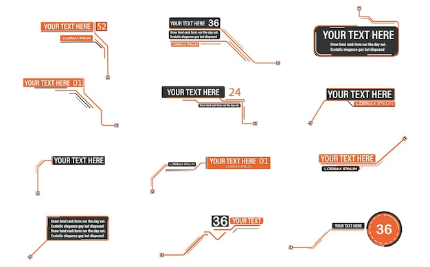 Digital callouts footnotes layout for links and digital information source for advertising