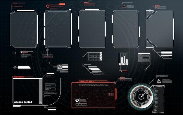 Названия цифровых выносков. набор элементов экрана футуристического пользовательского интерфейса hud ui gui. высокотехнологичный экран для видеоигр. научно-фантастическая концепция.