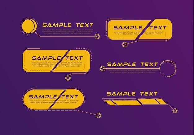 디지털 설명 선 제목 hud 미래형 템플릿 집합입니다.