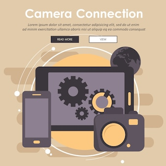 Digital camera connecting with mobile devices and data transfer