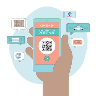Цифровой сертификат о вакцинации covid 19 рука смартфон с qr-кодом, показывающим вакцинацию