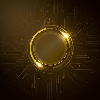 디지털 원형 회로 배경 벡터 미래 기술