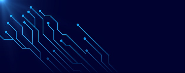 Digital circuit blue banner background with text space
