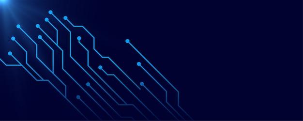 テキストスペースとデジタル回路の青いバナーの背景