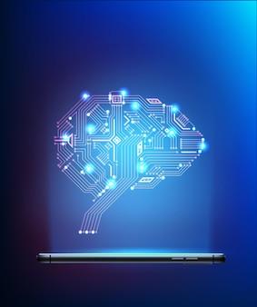 다가오는 그림 주위에 신경망과 디지털 회로 뇌