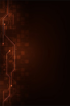 Digital circuit design on a dark orange background.