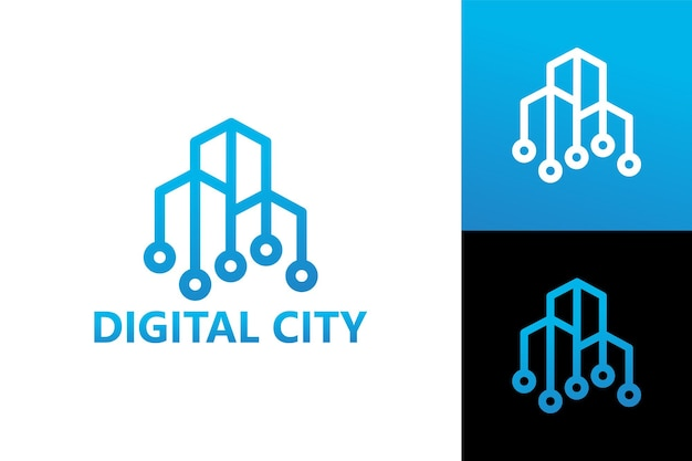 Digital city building logo template premium vector