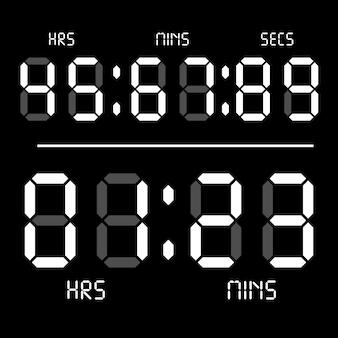 Digital clock. calculator digital numbers. alarm clock letters.