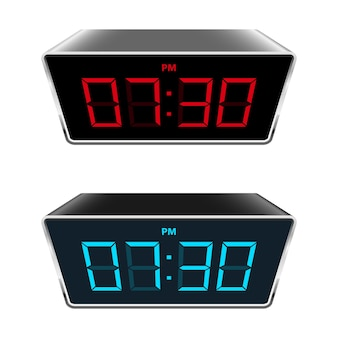 Digital clock illustration isolated on background