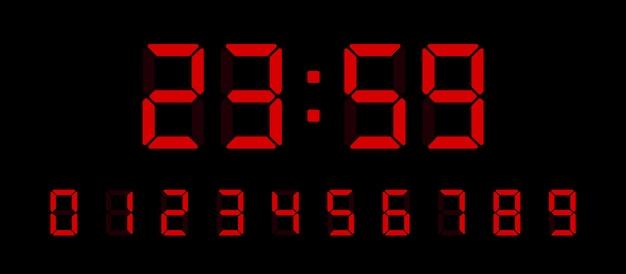 デジタル時計番号セット。インターフェイスの電子フィギュアは、さまざまなタイプのデバイスを設計します。図。