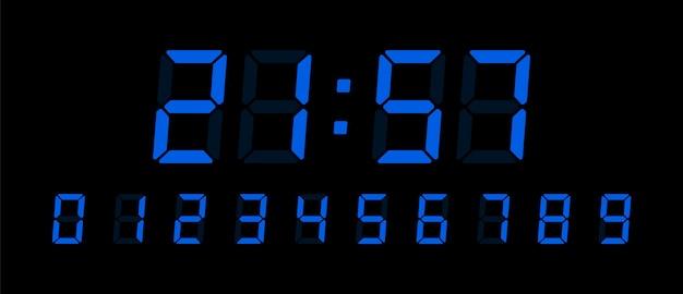 デジタル時計番号セット。さまざまな種類のデバイスを設計するためのインターフェイスの電子フィギュア。