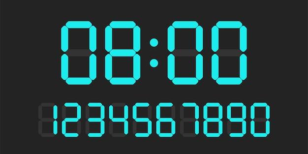 디지털 시계 번호 세트. 전자 수치.