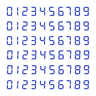 Набор номеров цифровых часов, изолированные на белом фоне. электронные фигурки для проектирования интерфейсов различных типов устройств.