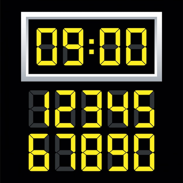 Digital clock  number set.