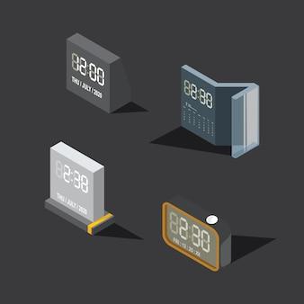 Digital clock time on dark