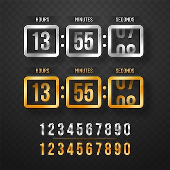 Digital clock timer in golden and metallic colors